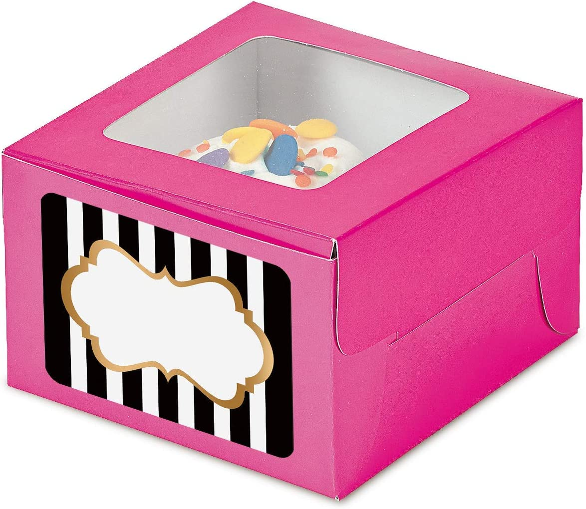 Pink Cupcake Boxes with Sticker Labels - Individual Single Cupcake Boxes With Insert Holders and Black and Gold Foil Stickers - 24 count (Pink) 4 1/2