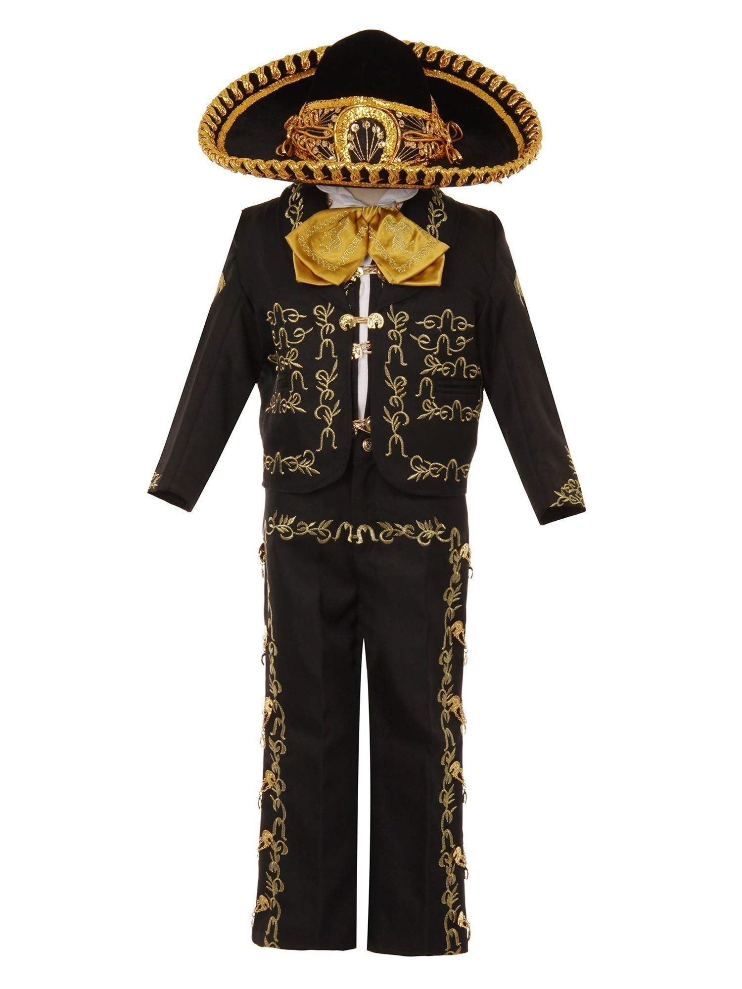 Rain Kids Baby Boys Black Gold Rooster Embroidery Elegant 6 Pc Charro Suit 12M by The Rain Kids