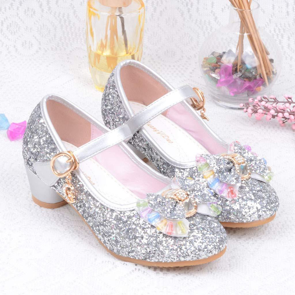 Kiminana Infant Kids Baby Girls Pearl Crystal Bling Bowknot Single Princess Shoes Sandals