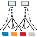 UBeesize LED Video Light Kit, 2Pcs Dimmable Continuous Portable Photography Lighting with Adjustable Tripod Stand…