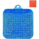 足洗いマット 足洗いブラシ ブルー (壁掛けフック 四個付き)