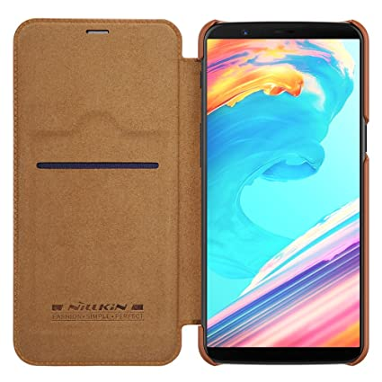 the best attitude c4050 66848 Nillkin Qin Series Royal Leather Flip Case Cover Case for Oneplus 5t (BROWN)