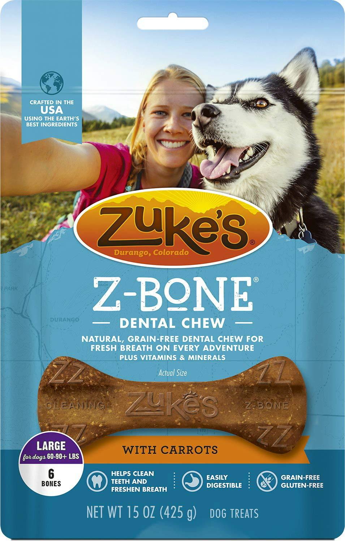 Zuke's Z-Bone Dog Dental Chew with Carrots, Large, 6 Count, 4 Pack by Zuke's (Image #1)