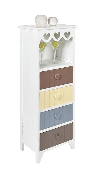 Kommode Schrank In Weiß Mit Herz Dekoration Flur Bad Küchen Kinderzimmer  Regal Mit 4 Schubladen