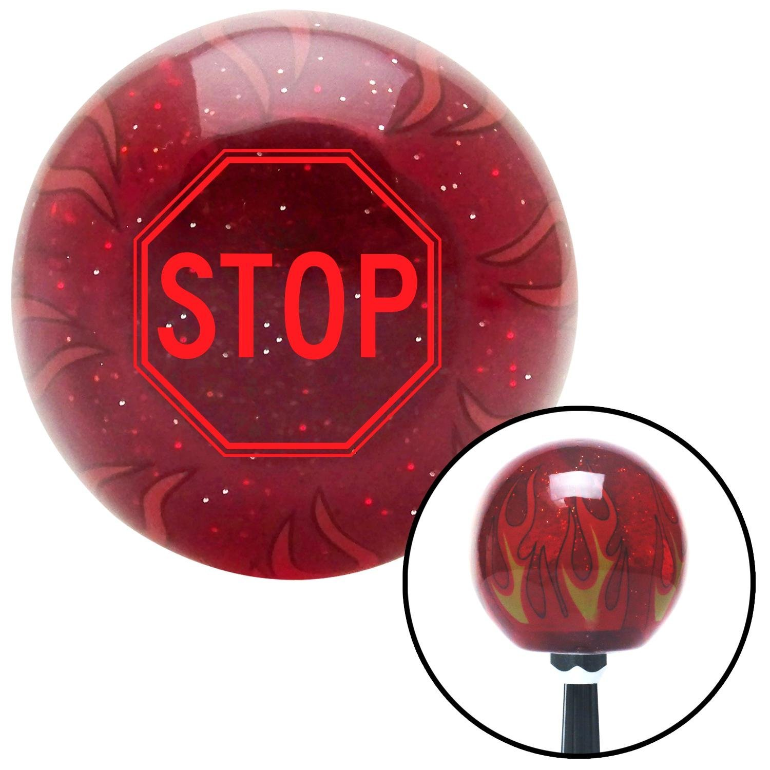 American Shifter 239873 Red Flame Metal Flake Shift Knob with M16 x 1.5 Insert Red Stop Sign
