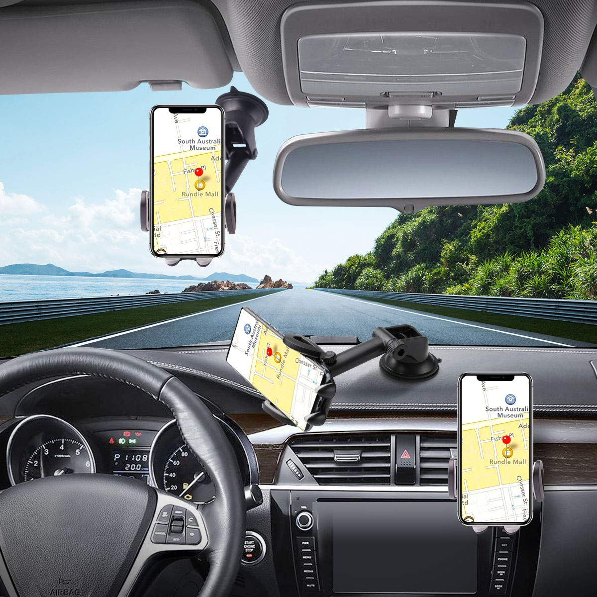 Car Cell Phone Holder Mount, Hapfish Universal Phone Holder for Car Dash Vent Windshield, Hands Free Easy Clamp Super Suction Stand for iPhone 12 11 Pro XS Max XR X 8 7 6, Galaxy Note, Mobile Phones