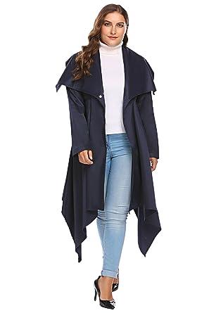 225cd4e943e Involand Women Plus Size One-Button Lapel Long Sleeve Asymmetrical Trench  Coat