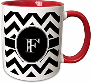 3dRose Chevron Monogram Initial F Two Tone Mug, 11 oz, Black/White/Red