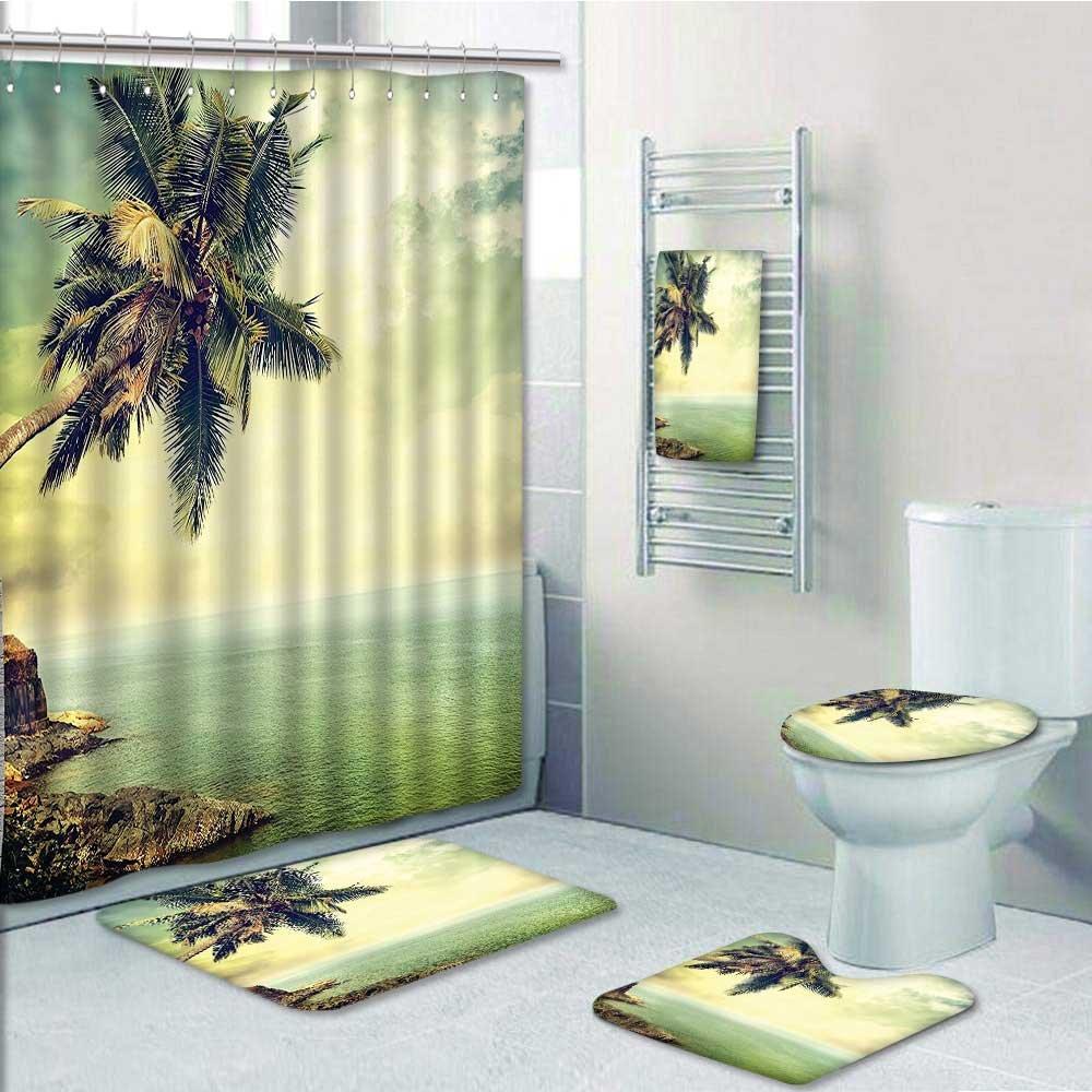 aolankaili 5-piece Bathroom Set-Includes Shower Curtain Liner, Tree Rocky Shore Caribbean Mist HoneyDecorate the bathroom(Medium size) durable modeling