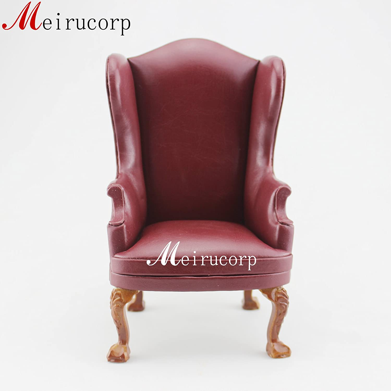 1/6 Scale Doll Furniture Dark Red chair Leather for 12in to 14in Doll Handmade Generic