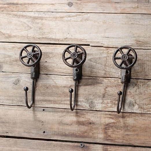 Joeesun 3 piezas//estilo industrial retro gancho de pared de hierro fundido ganchos de ropa decorativos