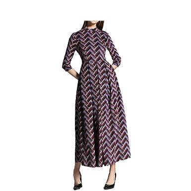 SmarketL Pleated Dress Half Sleeve Vintage Striped Dresses Vestidos As Picture M