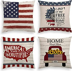 INSHERE American Patriotic 4th of July Farmhouse 4 Pack Throw Pillow Covers Cases for Couch Sofa Bed Home Decor, Independence Day Square Cotton Linen Cushion Cover 18 X 18 Inches (Independence Day 2)