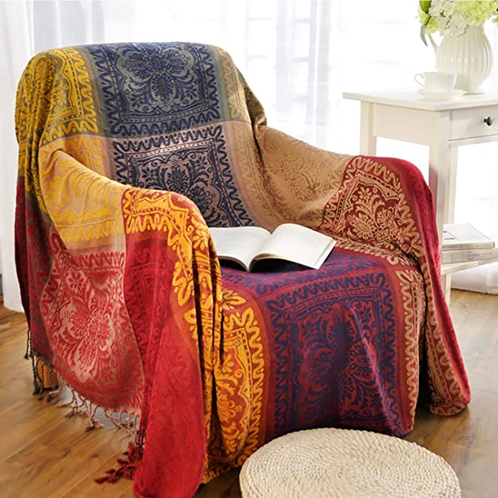 MayNest Bohemian Tribal Throws Blankets Reversible Colorful Red Blue Boho Hippie Chenille Jacquard Fabric Throw Covers Large Couch Furniture Sofa Chair Loveseat Recliner Oversized (Red, S:60x75)