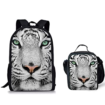 3c2af8c86f69 Horeset Backpack Animal Print School Rucksack College for Kids Student Book  Bag (White Tiger 1 Backpack+Lunch bag 1)