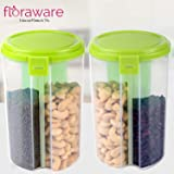 Floraware Plastic Storage Container for Kitchen 3 Sections Air Tight Transparent Food, Grain, Cereal Dispenser Storage Container Jar, Storage containers, Masala Boxes, Pack of 2 (Green)