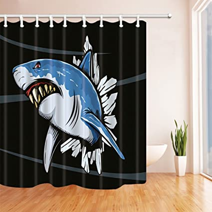 HiSoho Ocean Monster Decor Cartoon Shark Open Mouth Mildew Resistant Polyester Fabric Shower Curtains & Amazon.com: HiSoho Ocean Monster Decor Cartoon Shark Open Mouth ...