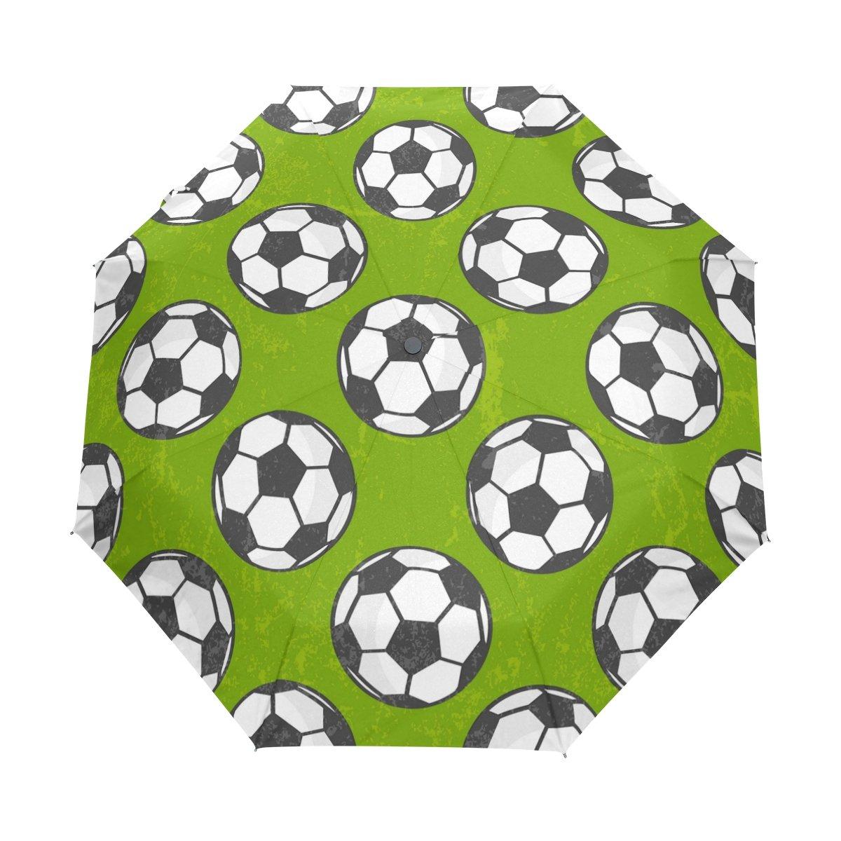 wxlife自動折り畳み傘スポーツサッカーボールグリーンAuto Openコンパクトポータブルトラベル傘ガールズボーイズレディース   B07DRGNGGT