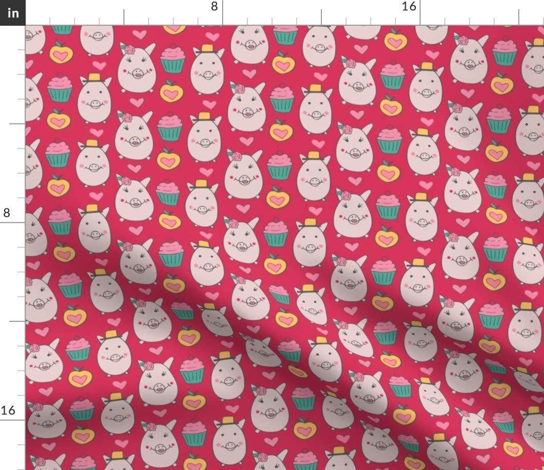 Spoonflower Fabric - Classy Pigs Cupcakes Piggies Cake Sweet Treats Apples Printed on Fleece Fabric by The Yard - Sewing Blankets Loungewear and No-Sew Projects