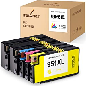SAILNER Compatible Ink Cartridge Replacement for HP 950XL 951XL 950 XL 951 XL use with OfficeJet 8600 8610 8620 8630 8625 8100 (2 Black 1 Cyan 1 Magenta 1 Yellow, 5-Pack)