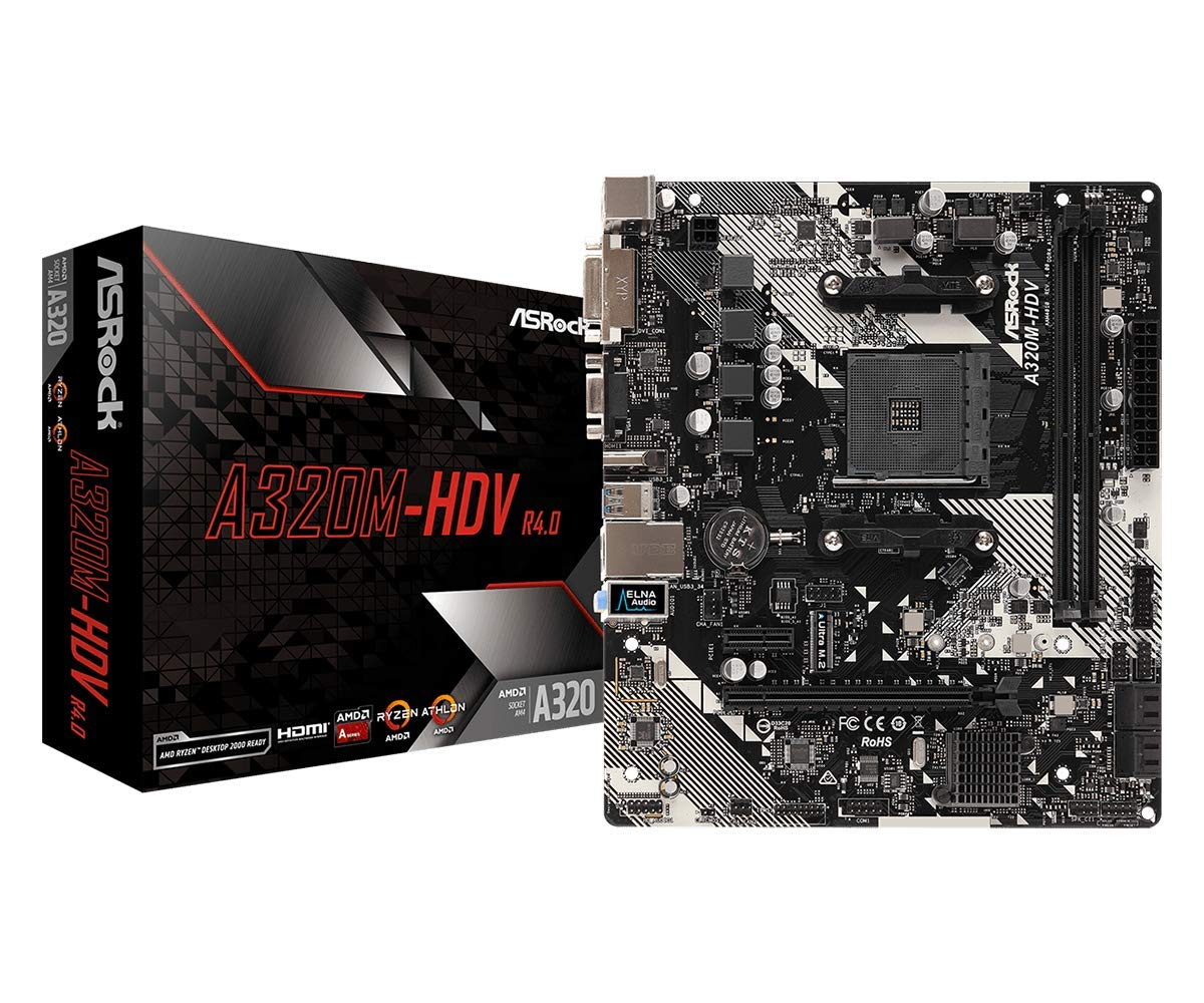 Asrock Amd Ryzen Am4 Compatible With A320 Chip Microatx M...