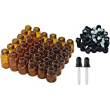 36pcs Essential Oil Bottles with 2pcs Transfer Pipettes, Lystaii 1ml 2ml 3ml Amber Glass Bottles Vials Oils Bottles for Essential Oils with Caps, Orifice Reducers and 2pcs Glass Dropper Pipettes
