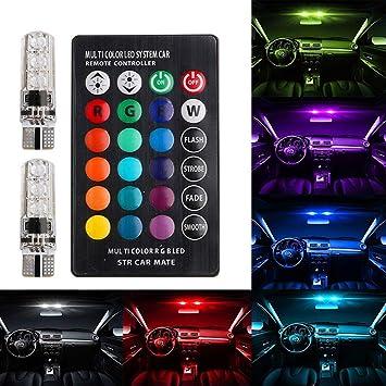 AMAZENAR 2 Unidades 194 168 2825 T10 RGB Multicolor LED Luz Interior del Coche Iluminación Lectura Tablero Bombillas Luces de Marcador Lateral con 16 ...