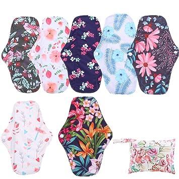 Simfamily 7 Pcs Menstrual Pad Set Including 1Pc Mini Wet Bag And 6Pcs Regular Flow Menstrual