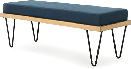 Christopher Knight Home Elisha Industrial Modern Fabric Bench, Navy Blue Matte Black