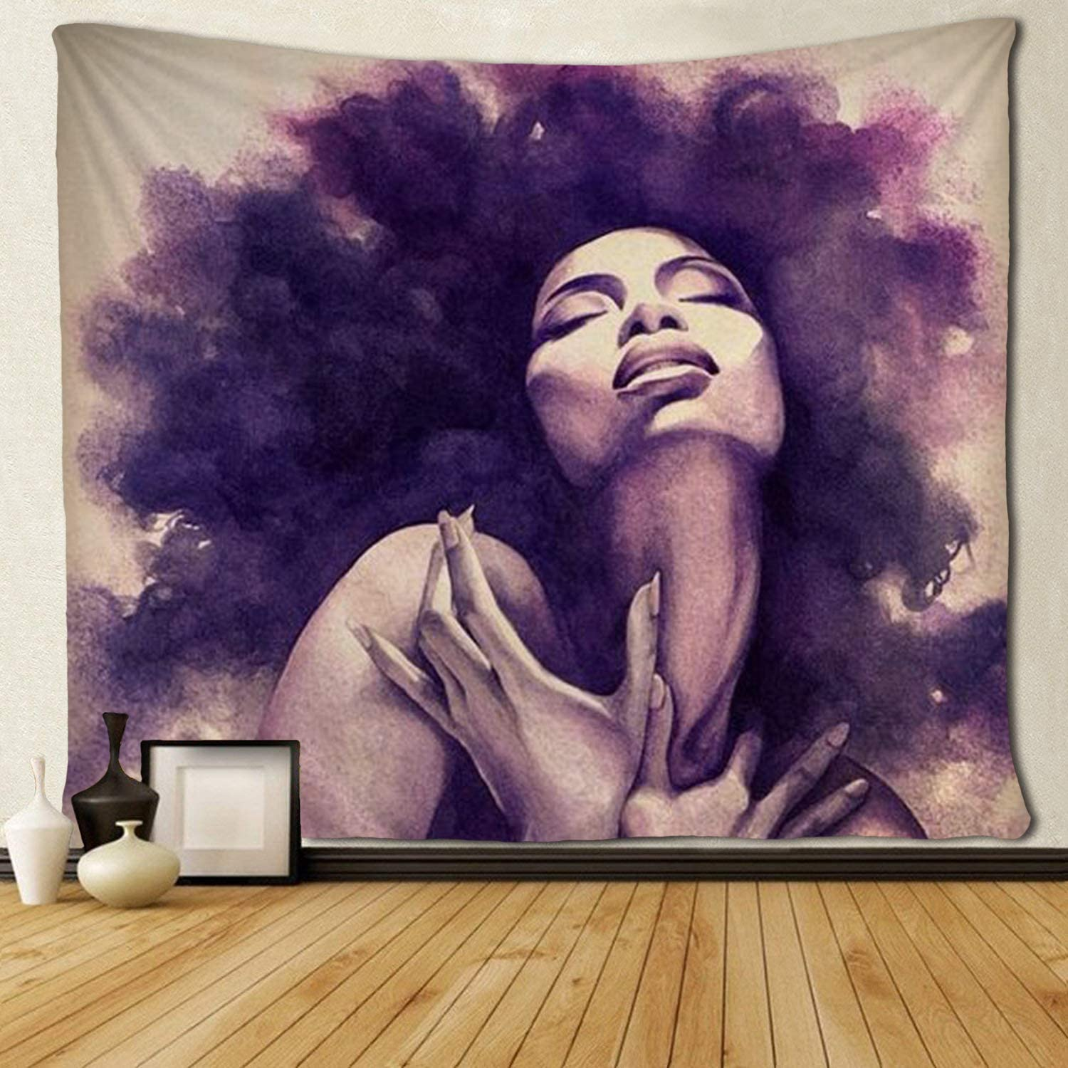 SARA NELL Black Art Wall Tapestry African American Sexy Women Lady Tapestries Hippie Afro Wall Hanging 50X60 Inches for Bedroom Living Room Dorm Room (6090 inch, American American Sexy Women Lady)