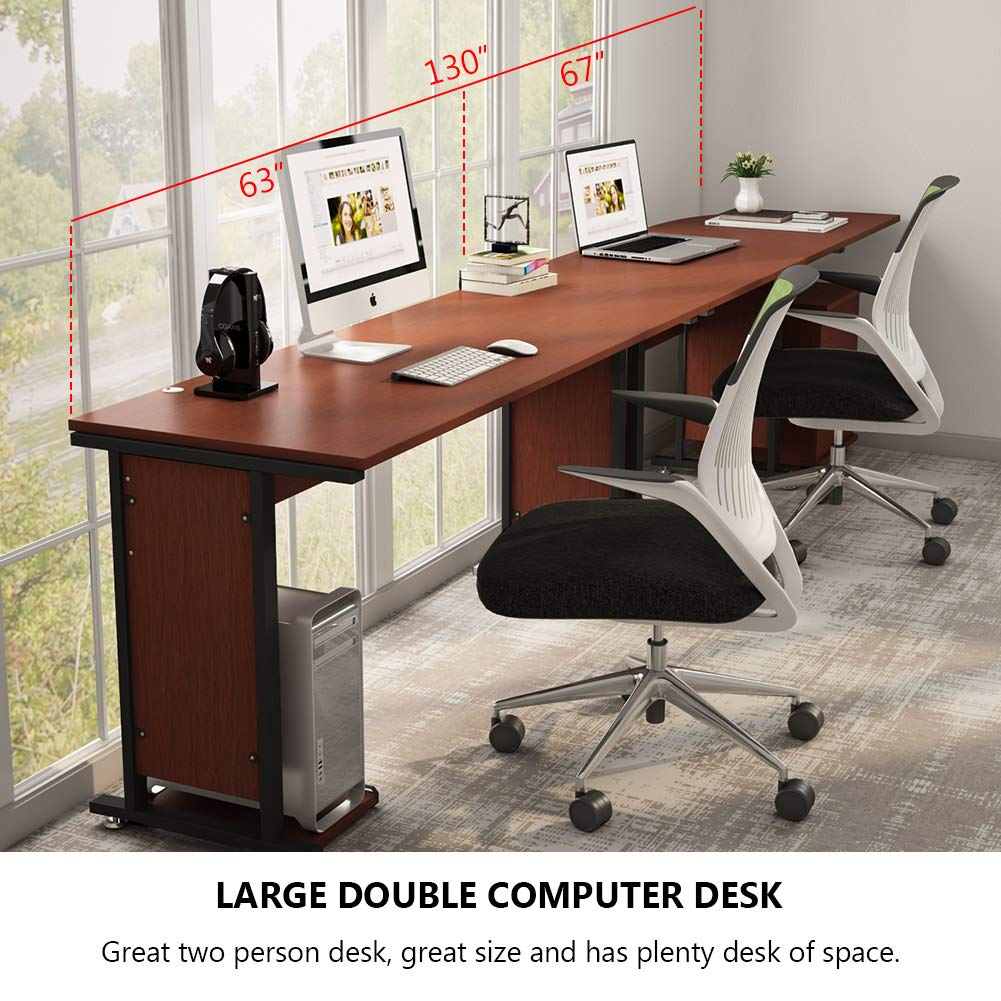 Amazon com 87 large tribesigns reversible modern l shaped desk with cabinet two person corner computer desk study table workstation for home office with