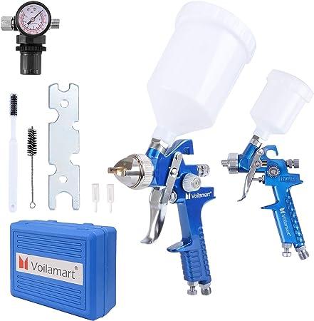 avec 3 buses 1.4mm 1.7mm 2.0mm 600C Pistolet /à peinture haute pression professionnel HVLP Pistolet /à peinture HVLP Bleu