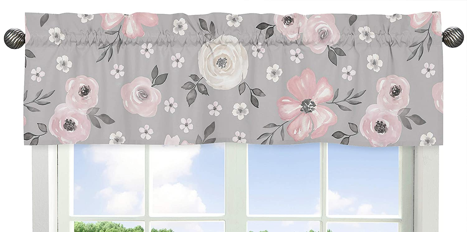 Sweet Jojo Designs Grey Watercolor Floral Window Treatment Valance - Blush Pink Gray and White Shabby Chic Rose Flower Farmhouse