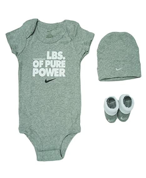 Nike Baby 3-Piece Pure Power Infant Bodysuit Hat   Booties Set (0-6 Months  Dark Heather)  Amazon.in  Baby a488d4b58b30