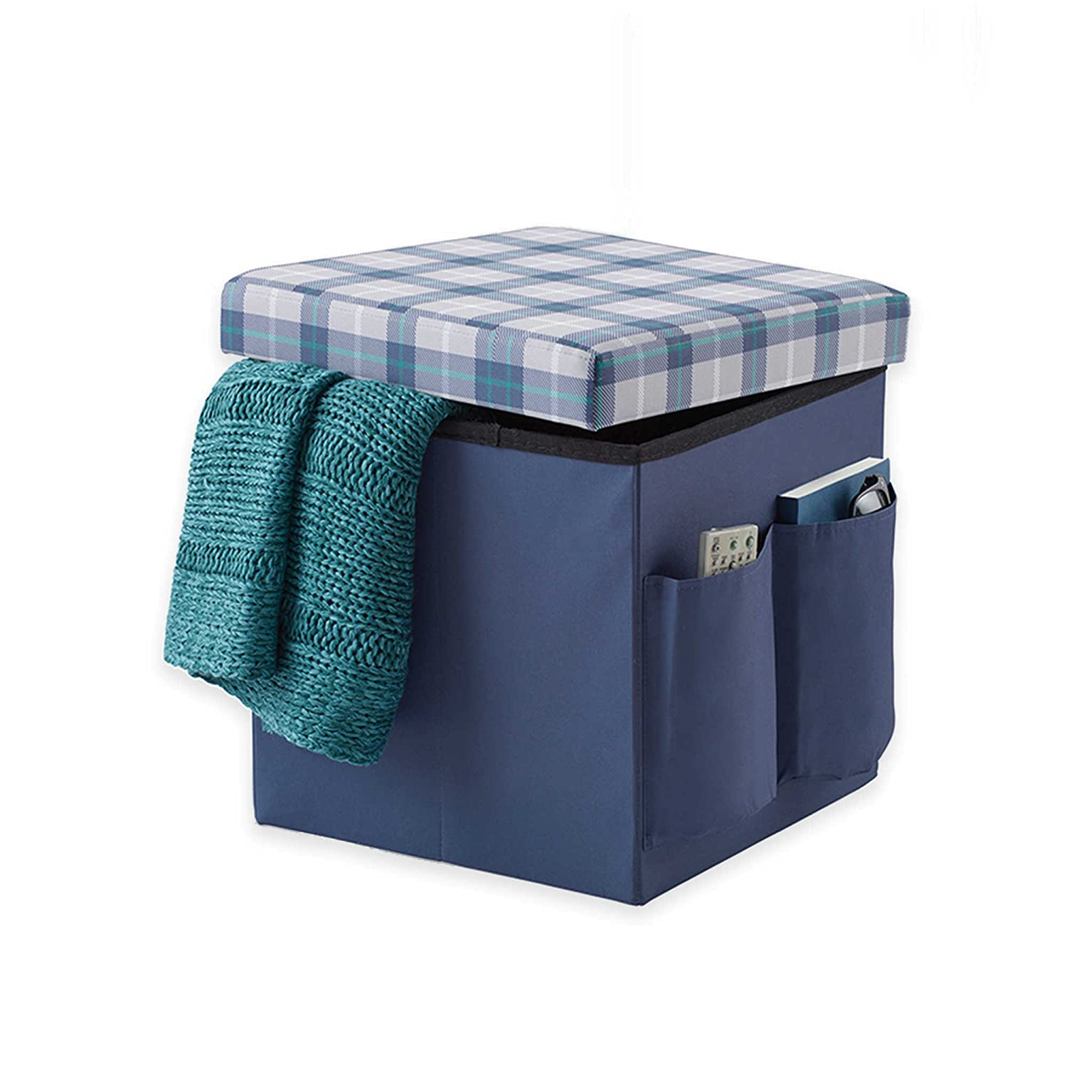 amazoncom sit  store folding ottoman in blue plaid  lb  - amazoncom sit  store folding ottoman in blue plaid  lb weightcapacity cell phones  accessories
