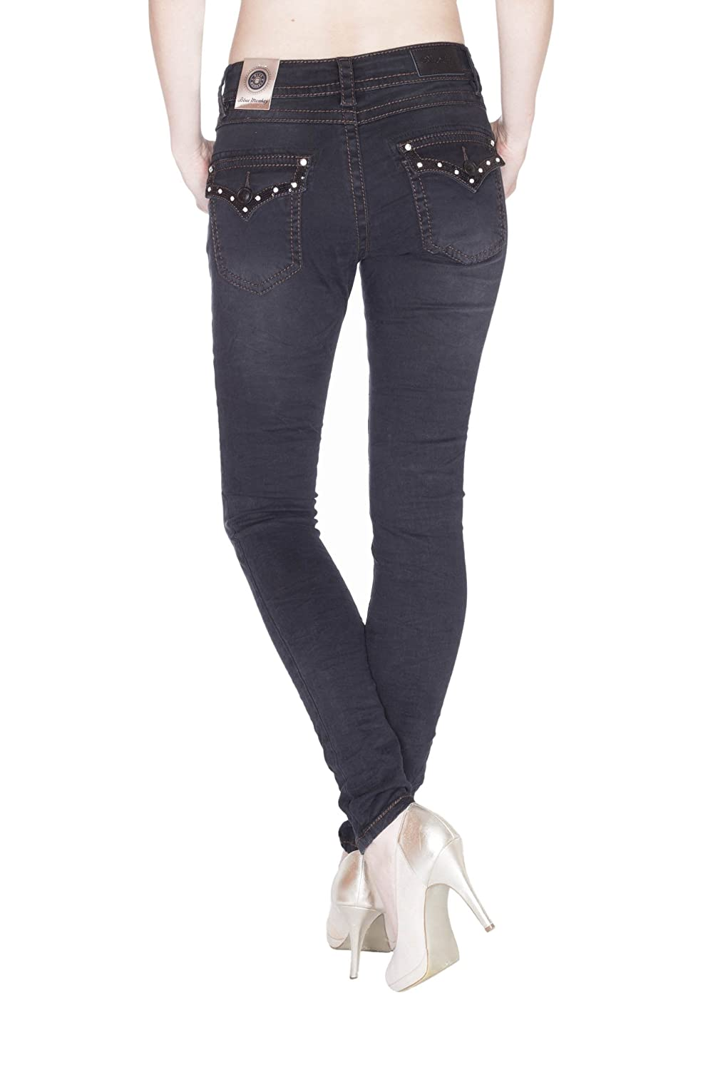 Blue Monkey Damen Jeans mit Strass & Pailletten Romy 3693