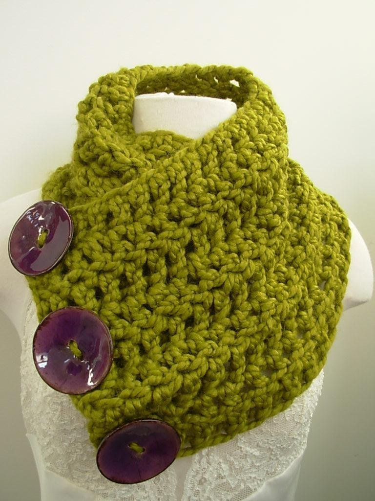 Amazon.com: Button Cowl Chunky Boston Harbor Scarf Lemongrass with ...