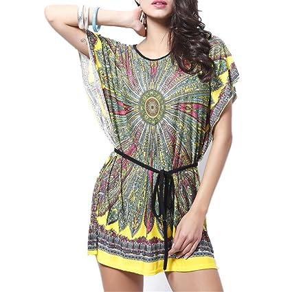 Blusas Mujeres, Dotbuy Vintage Tamaño Más Mini Vestido A-Linear Casual Camisetas Góticas Camisas