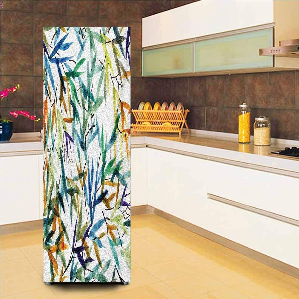 Ira FRANKLIN backgrounds 3D Door Fridge DIY Stickers,Colorful Bamboo Tree Leaves Hand Drawn Style Spiritual Plants Picture Print Vinyl Wall Decal Hallway Mural,24x59,for Refrigerator,Multicolor