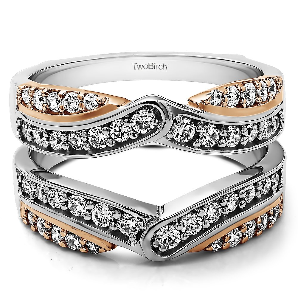 TwoBirch 0.74 ct. Cubic Zirconia Infinity Bypass Engagement Ring Guard in Sterling Silver (0.74 ct. twt.) by TwoBirch (Image #6)