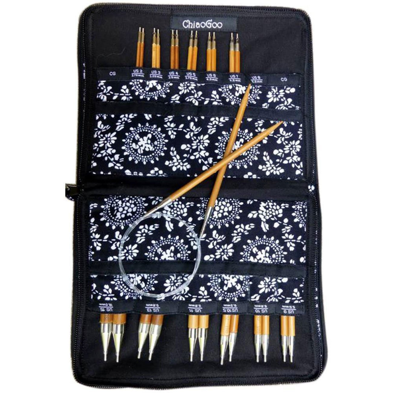 ChiaoGoo Spin Interchangeable Knitting Needle Set Complete: Size US 2 (2.75mm)-Size US 15 (10mm) Bundle with 1 Artsiga Crafts Project Bag 2500-C by ChiaoGoo Knitting Needles (Image #2)