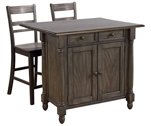 Sunset Trading Shades of Gray Kitchen Island Set