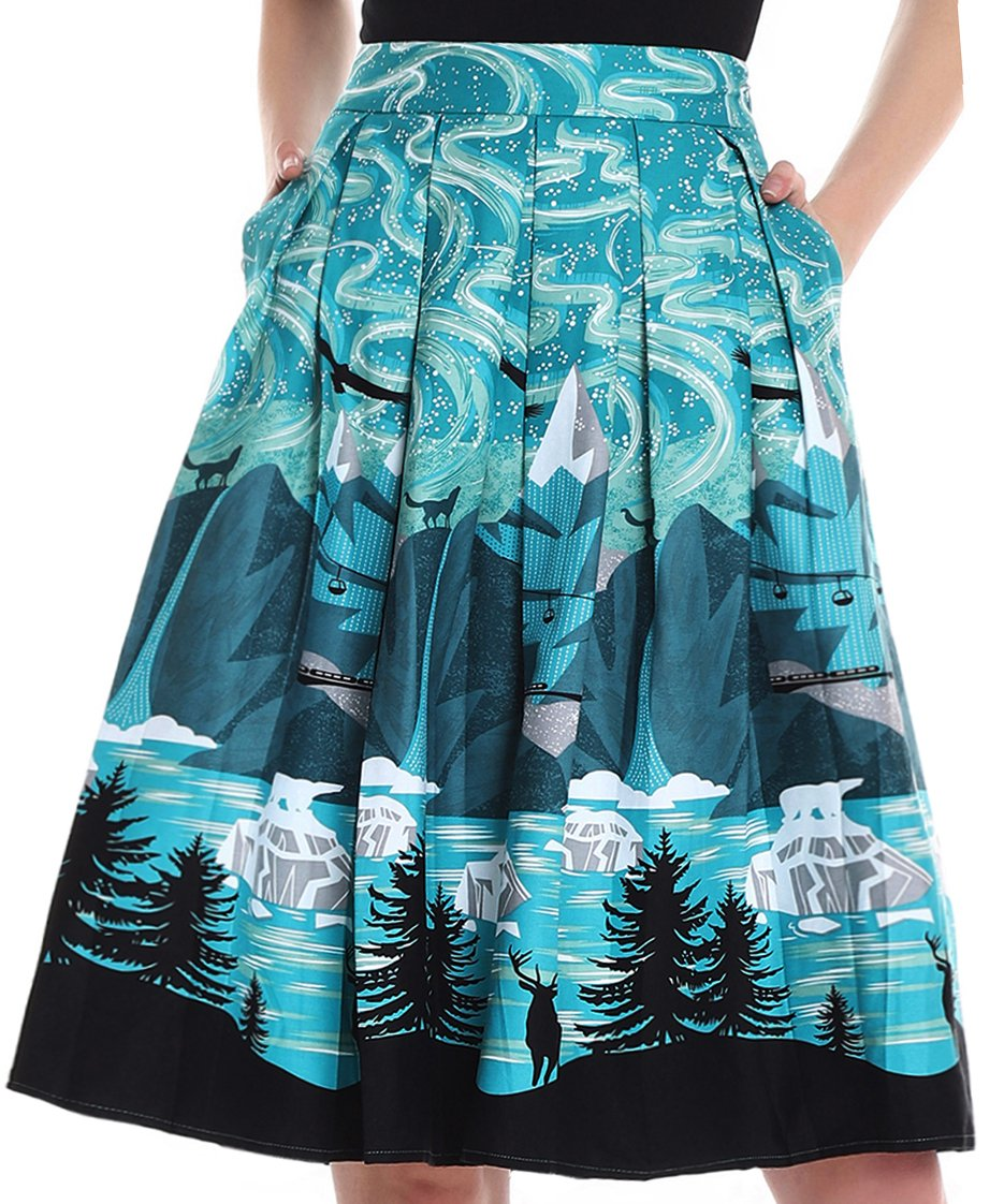 Yige Women's Vintage High Waist Flared Skirt Pleated Floral Print Midi Skirt Pocket Night Sky-L