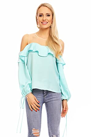 7a07adce6b8ea5 Jayloucy Damen Schulterfrei Top Langarm Bluse Shirt Hemd Pullover  Sweatshirt Oberteil Volant JL142  Amazon.de  Bekleidung