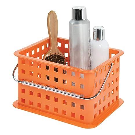 InterDesign Basic corbeille rangement, petit panier salle de bain en  plastique pour accessoires de douche et soins, orange