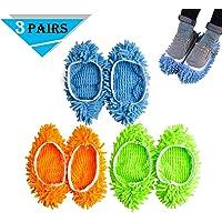 CoWalkers Lavable Mopa antipolvo Zapatillas Cubiertas de microfibra Mop zapatillas Zapatillas Limpiador de pisos de polvo Multifunción Limpieza de pisos Muestra cubierta 3 pares (Azul, Verde, Amarillo)