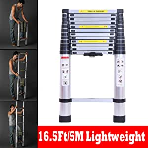 Escalera telescópica extensible de aluminio de 5 metros, 13 peldaños, normas EN131: Amazon.es: Bricolaje y herramientas