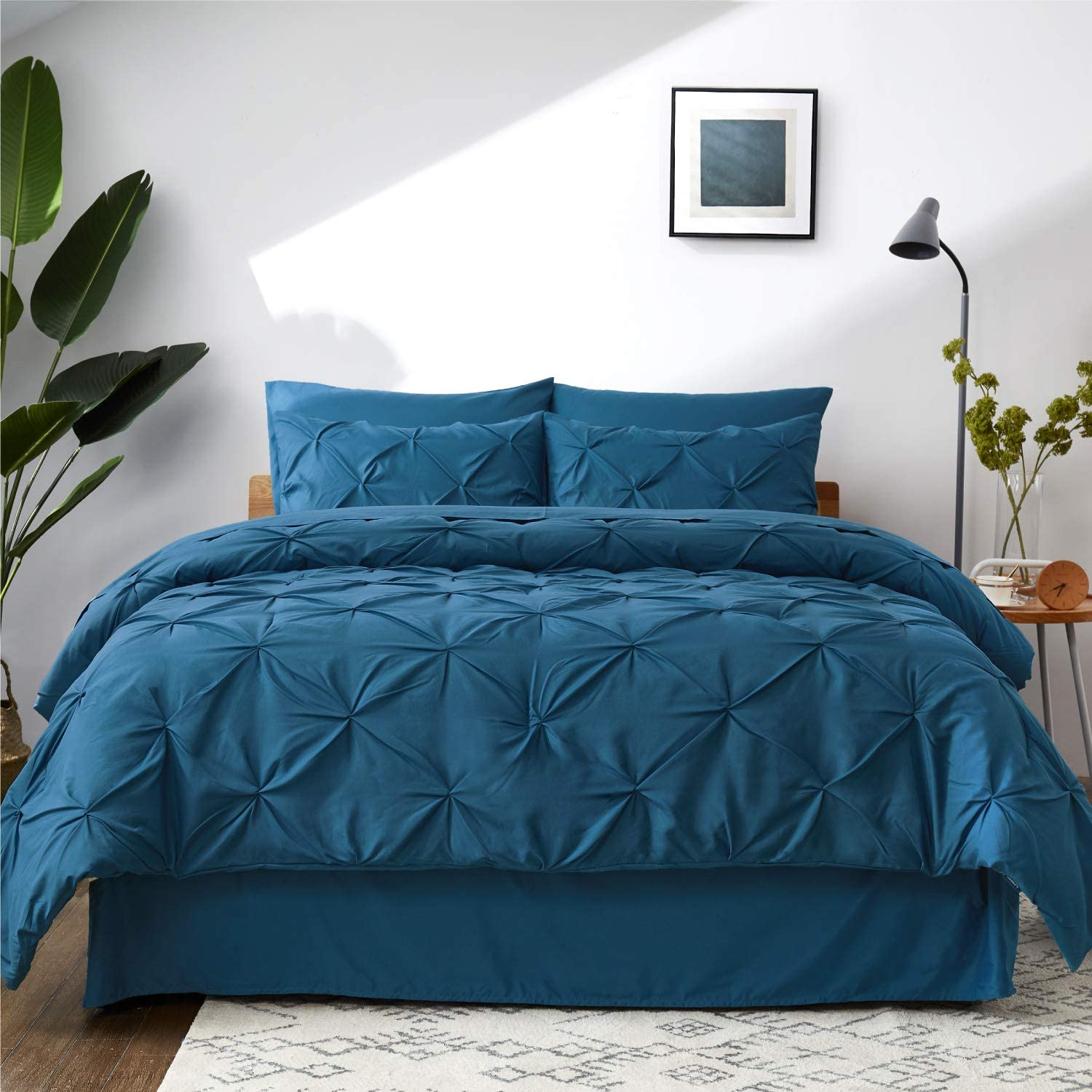 Bedsure Comforter Set Full/Queen Bed in A Bag Teal 8 Pieces - 1 Pinch Pleat Comforter(88x88 inches), 2 Pillow Shams, 1 Flat Sheet, 1 Fitted Sheet, 1 Bed Skirt, 2 Pillowcases