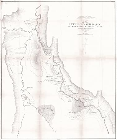 Amazon.com: Historic Map | 1878 Map of the Upper Geyser Basin ...