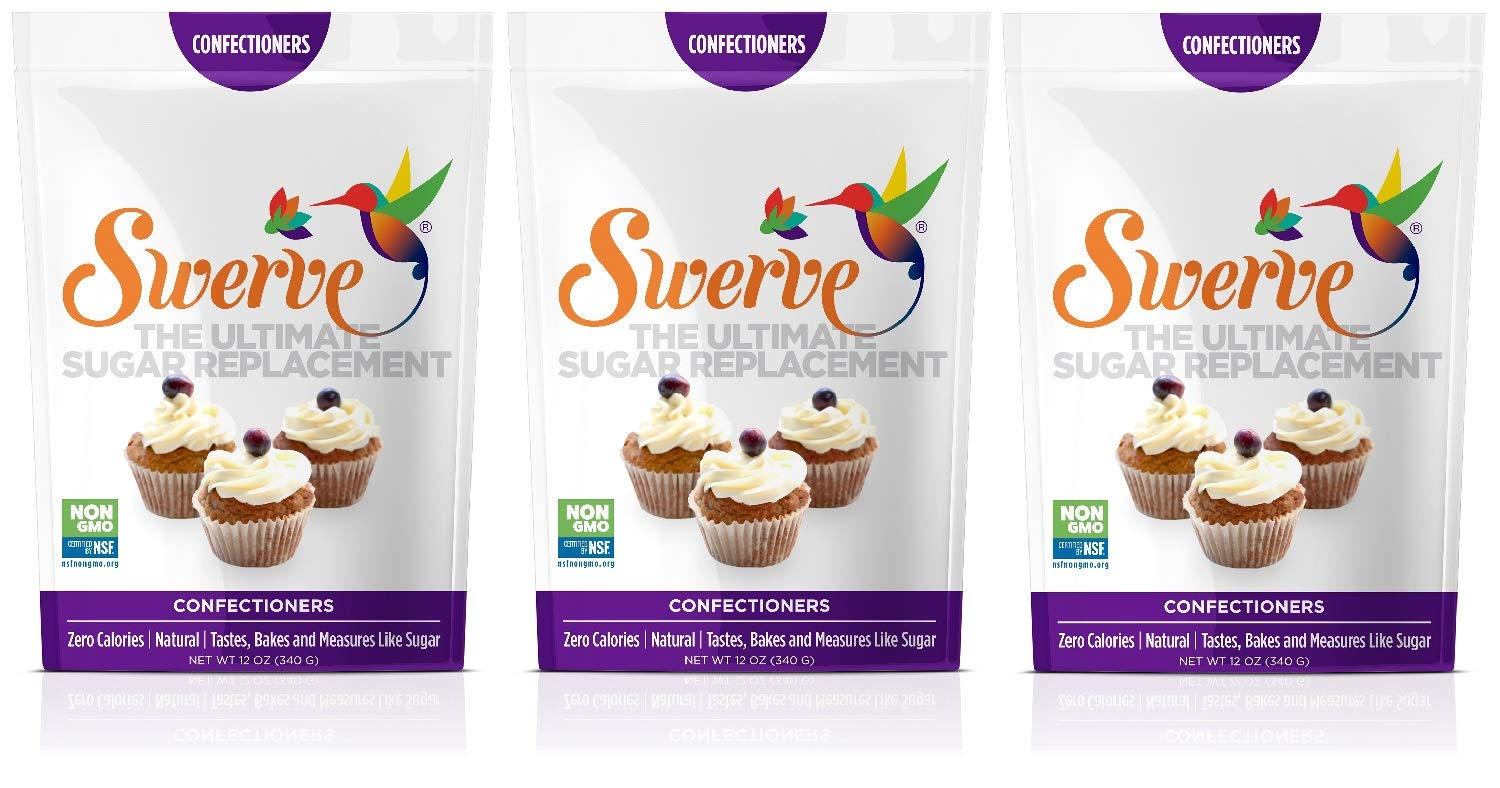 Swerve Sweetener, Confectioners, 12 oz bag (Pack of 3)